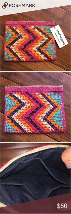 Mabaysay Multicolor Chevron Ticog Fiber Clutch Has inside pockets. Zoom in photos to see details. Made of natural fibers, may have imperfections. Made in the Philippines 🇵🇭.   Ask ALL questions before you buy as all sales are final. I try to describe the items I sell as accurately as I can but if I missed something, please let me know FIRST so we can resolve it before you leave < 5🌟rating.   🚫TRADES/OFFLINE TRANSACTIONS 🚫LOWBALLING (Please consider the 20% PM fee) ✅Offers only through…