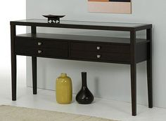 Brown Accent Sofa Console Table with 2 Large Storage Drawer Made of Rubber Wood with Glass Top That Will Accentuate You Entryway or Living R...