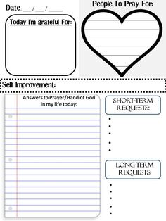 prayer journal template: a great way to organize your thoughts before prayer and make them more meaningful. Also a great way to keep track of answered prayers.