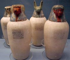 Canopic jars of Neskhons, wife of Pinedjem II. Made of calcite, w/ painted wooden heads. Originally from the Deir el-Bahri royal cache, ca BC Ancient Egyptian Tombs, Egyptian Kings, Egyptian Pharaohs, Egyptian Mythology, Egyptian Goddess, Ancient Artifacts, Ancient Greece, Mummification Process, Canopic Jars