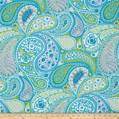Haute Girls Paisley Aqua from @fabricdotcom  Designed by Dena Designs for Free Spirit, this cotton print fabric is perfect for quilting, apparel and home decor accents. Colors include white, grey, shades of green, and shades of blue.