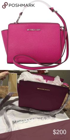 Michael Kors Fushia Crossbody Sturdy saffiano leather and gold-tone hardware bring professional polish to this MICHAEL Michael Kors cross body. The inset top zip opens to a logo-lined interior with 1 pocket and a spring-lock keychain. Optional, adjustable shoulder strap. Dust bag included. Michael Kors Bags Crossbody Bags