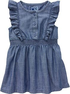 Flutter-Sleeve Chambray Dresses for Baby Product Image
