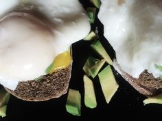 Sandwich with avocado and pashot-style eggs for Breakfast!