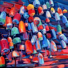 bouées de casiers - Peinture, 80x80 cm ©2016 par veronique gaudin - Peinture contemporaine, Toile, Paysage marin, bouées, casiers, peche