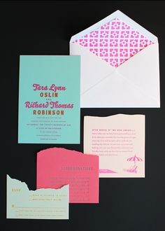 If you thought last week's oversize map wedding invitations from Ladyfingers Letterpress were cool, wait until you see these Palm Springs invitations!  Inspired (naturally) by the wedding venue, the entire invitation suite is just bursting with color – from cool aqua to bright neon pink – and Arley-Rose and Morgan used color and die-cutting to …