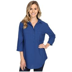 Royal Robbins Expedition Stretch Tunic Women's Long Sleeve Button Up ($70) ❤ liked on Polyvore featuring tops, tunics, collar top, button up tops, long sleeve tops, blue tunic and button down tunic