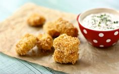 Baked Chicken Nuggets with Dilly Ranch Dip from @Brenda Myers Myers Score | a farmgirls dabbles via @RecipeGirl {recipegirl.com} {recipegirl.com} {recipegirl.com}