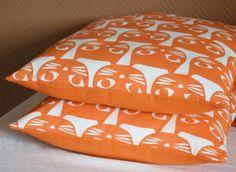 Housse de coussin Chat/ Cat orange vintage 30x 50 cm