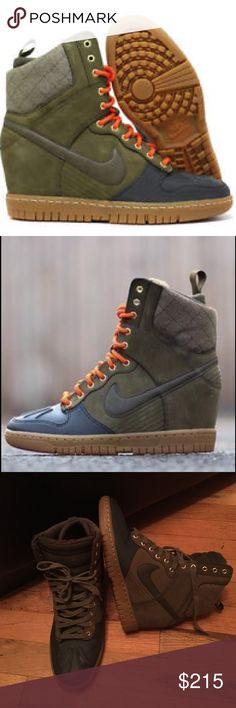 Women's Nike Dunk Ski Hi Dunk Sneakerboot  Women's Nike Dunk Ski Hi Dunk Sneakerboot 2.0 in Dark Loden. AS SEEN ON Beyoncé and Zendaya. These boots are sold out EVERYWHERE❤ Nike blended their original Ski High Dunk with a 100% WATER PROOF Duck Boot lined with SHEARLING for SUPREME WARMTH AND COMFORT! Camouflage colors with Navy and Magenta insoles. Gum outer sole. LIKE NEW! Bought and wore a few times. LIKE NEW! ❗️ Listed price is FINAL❗️ Nike Shoes Winter & Rain Boots