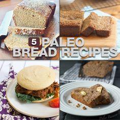 5 Delicious and different Paleo Bread Recipes. All are worth making!  Leuk om inspiratie op te doen. Alle zoetjes (honing e.d. Vervangen) en glycemische index van bepaalde ingrediënten nog opzoeken (tapiocameel???)