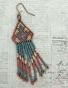 Linda's Crafty Inspirations: Native American Fringe Earrings Sample - Blue Berry & Aloe