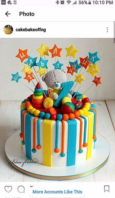 Inspiration Image of First Birthday Cake Boy First Birthday Cake Boy A Colourful Circus Themed First Birthday Cake Featuring An Elephant Toddler Birthday Cakes, Baby First Birthday Cake, Birthday Boys, Baby Boy Cakes, Baby Shower Cakes, Cake Decorating Frosting, Pretty Cakes, Themed Cakes, Cake Designs