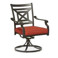 Garden Treasures Kingsmead Set Of 2 Steel Dining Chairs With Red Cushions Oak Dining Room Chairs, French Dining Chairs, Steel Dining Table, Modern Dining Chairs, Patio Chairs, Outdoor Chair Cushions, Red Cushions, Outdoor Chairs, Swivel Rocker Chair