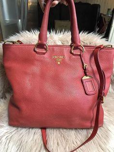 Authentic Prada Vitello Phenix Tote Large Shoulder Bag Red Leather  bag   prada  sale  shoulder  shoulderbag  redleatherpursessale 2754d99a6e3d7