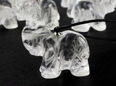 RARE Satyaloka Azeztulite Clear Carved & Polished Elephant Light Healing Crystal