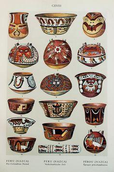 Native American Indian (Nazca, Peru), Modern Period Pottery Designs. 1920s Lithograph by Bossert