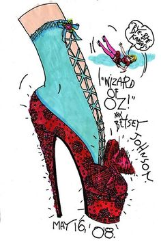 "Tibi Weeks ago I showed you the Jimmy Choo and Betsey Johnson sketches of the contemporary versions of the ruby slipppers made famous in the film classic, ""The Wizard of Oz. Manolo Blahnik, Betsey Johnson, Ella Enchanted, Shoe Sketches, Fashion Sketches, Red Slippers, Yellow Brick Road, Shoe Art, Over The Rainbow"