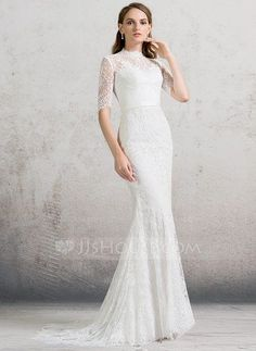 [US$ 259.99] Trumpet/Mermaid High Neck Sweep Train Lace Wedding Dress (002088480)