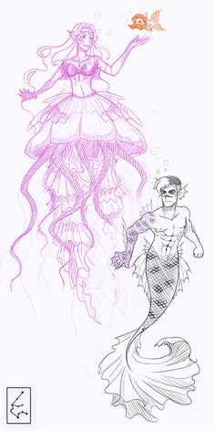 """MERMAID!AU VOLTRON! yay! \o/ """" (maybe one day if I'm not too lazy I will color them) """" yes, allura is a jellyfish and coran a fish with a magnificent mustache"""