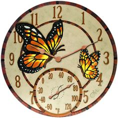 Springfield 91019 Mosaic Butterfly Indoor/Outdoor Clock and Thermometer Outdoor Clock, Outdoor Rugs, Indoor Outdoor, Weather Instruments, Patio Accessories, Dog Carrier, Resin, Camping Survival, Camping Gear