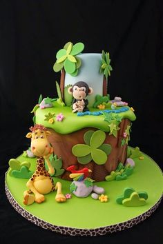 Gateau D anniversaire Zoo Beautiful Jungle Safari and Zoo Cake Ideas Inspirations Baby Cakes, Baby Shower Cakes, Jungle Theme Cakes, Safari Cakes, Zoo Cake, Super Torte, Rodjendanske Torte, 1st Birthday Cakes, Animal Cakes