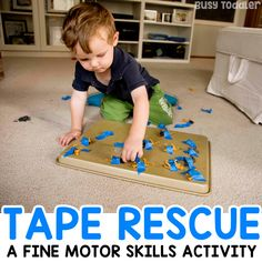 Animal Tape Rescue Activity Need to entertain a taby? Try this easy tape rescue activity! A quick and easy toddler activity and a great baby activity to try! Motor Skills Activities, Toddler Learning Activities, Animal Activities, Games For Toddlers, Infant Activities, Preschool Activities, Indoor Activities, Fun Learning, Activities For One Year Olds