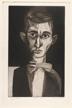 John Paul Jones - Self Portrait, 1950. Use of shadow cast across one side of the face to create an interesting image of shape and shade.