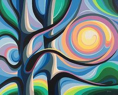 Interesting abstract tree and sunset painting. Summer Sunrise by Christine Karron