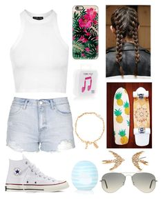 """#ashessummer2k16 contest Day Two"" by emily5302 ❤ liked on Polyvore featuring Topshop, Converse, Casetify, Happy Plugs, Ray-Ban, Kate Spade, women's clothing, women, female and woman"
