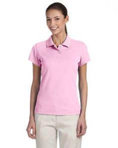 adidas Golf Ladies' climalite® Tour Piqué Short-Sleeve Polo A85 PALE PINK/WHITE