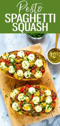 This cheesy loaded Chicken Pesto Spaghetti Squash is a healthy low-carb and high protein dinner the whole family will love! Lose of Fat Every 72 Hours! Learn the Fast Weight Loss Good Healthy Recipes, Whole Food Recipes, Vegetarian Recipes, Recipes Dinner, Lunch Recipes, Delicious Recipes, Pesto Spaghetti Squash, Spaghetti Squash Recipes, Baked Spaghetti