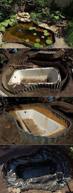 Pond out of discarded bathtub insert