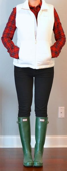 Outfit Posts: (outfits 21-25) one suitcase: winter vacation capsule wardrobe. White puffer vest and red plaid shirt