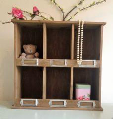 Rustic Wood 6 Compartment Shelf Unit