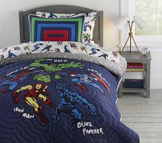Marvel Kids Quilt   Pottery Barn Kids Avengers Room, Marvel Avengers, Marvel Comics, Marvel Heroes, Avengers Birthday, Marvel Bedding, Marvel Bedroom, Avengers Bedding, Kids Comforter Sets