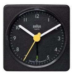"""This Braun travel alarm clock measures 2.25"""" x 2.25"""", 56mm x 56mm x 31mm and is available in two colors. It has an easy to read dial layout, crescendo alarm and a quiet German precision quartz movemen"""