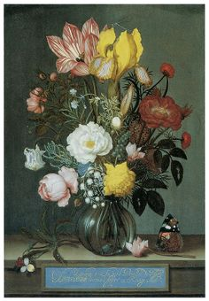 Ambrosius Bosschaert the Elder (1573-1621) –– Bouquet Of Flowers In A Glass Vase  (623x900)