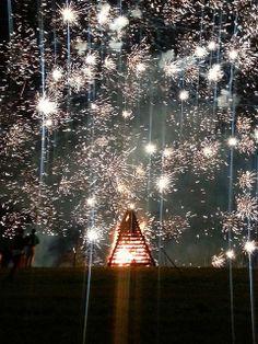 It's snowing! :)  Fireworks and Bonfire at Festival of the Bonfires St James Parish Louisiana