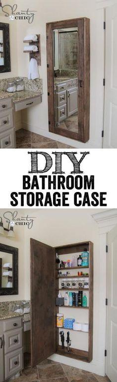 DIY Bathroom Organization Cabinet with full length mirror. by echkbet