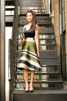 London Lab :: Striped flare skirt
