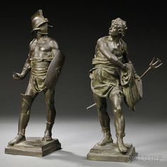 After Eugene Marioton (French, 1854-1933) Two Bronze Figures: Warrior and Fisherman | Sale Number 2754B, Lot Number 252 | Skinner Auctioneers