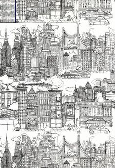 New York toile by Saul Steinberg