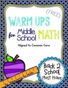 FREE  Middle School Math Warm Ups