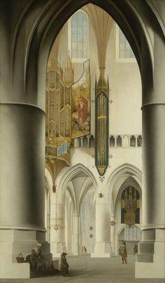 Pieter Saenredam ~ Interieur van de Sint-Bavokerk in Haarlem ~ 1636 ~ Olieverf op hout ~ 94 x 55 cm. ~ Rijksmuseum, Amsterdam: