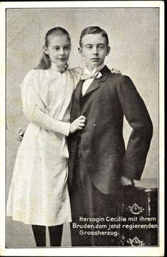 Duchesse Cecilie (1886-1954) avec son frère Friedrich Franz (1882-1945) de Mecklembourg- Schwerin