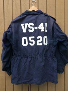 Very rare!  1990's vintage navy blue M-65 Field Jacket used in US Navy Air Anti…