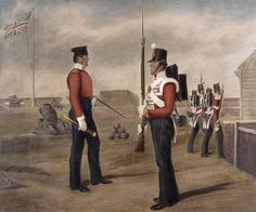 Maggiore Egerton e sentinella, 77a (The East Middlesex) Regiment of Foot, Portsmouth 1849