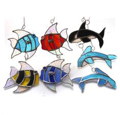 Whale dolphin tropical fish suncatcher stained glass Unusual Presents, Fishing Gifts, Tropical Fish, Stripes Design, Suncatchers, Dolphins, Home Crafts, Underwater, Stained Glass