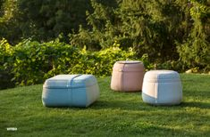 Pouf: The cylindrical and square Poufs can be used in combination with any collection. Corian® trays in two different sizes cleverly turn the stools into side tables. The fabric strap on the top makes carrying a cinch, and the integrated pocket can be used to store various items. Nine different fabrics of outdoor suitable and water-repellant acrylic make the poufs ideal for a wide range of functions. Photographer: Croce & Wir Corian, Poufs, Outdoor Furniture, Outdoor Decor, Side Tables, Stools, Trays, Different Fabrics, Bean Bag Chair